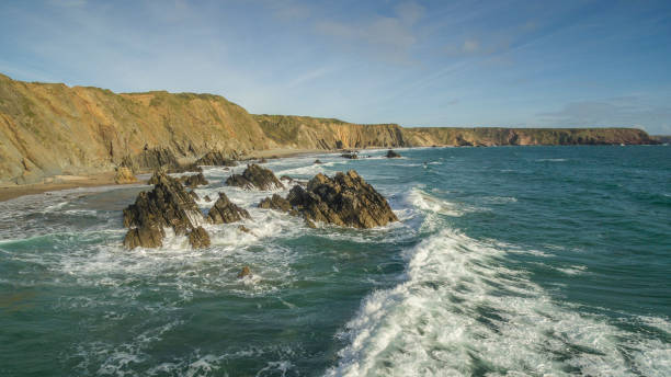 Marloes Sands on the dramatic pembrokeshire coast in Wales stock photo