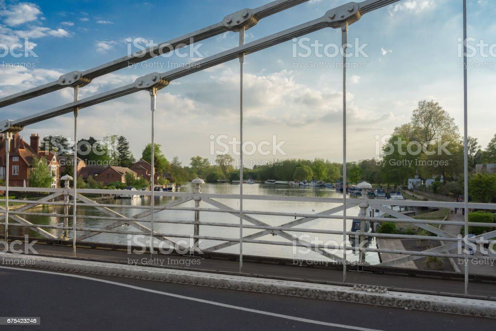 Marlow Bridge and The River Thames at twilight on a spring evening stock photo
