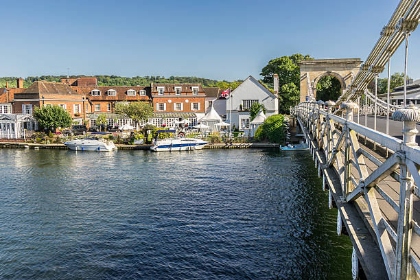 Marlow in the county of Buckinghamshire Looking across the River Thames to the town of Marlow buckinghamshire stock pictures, royalty-free photos & images