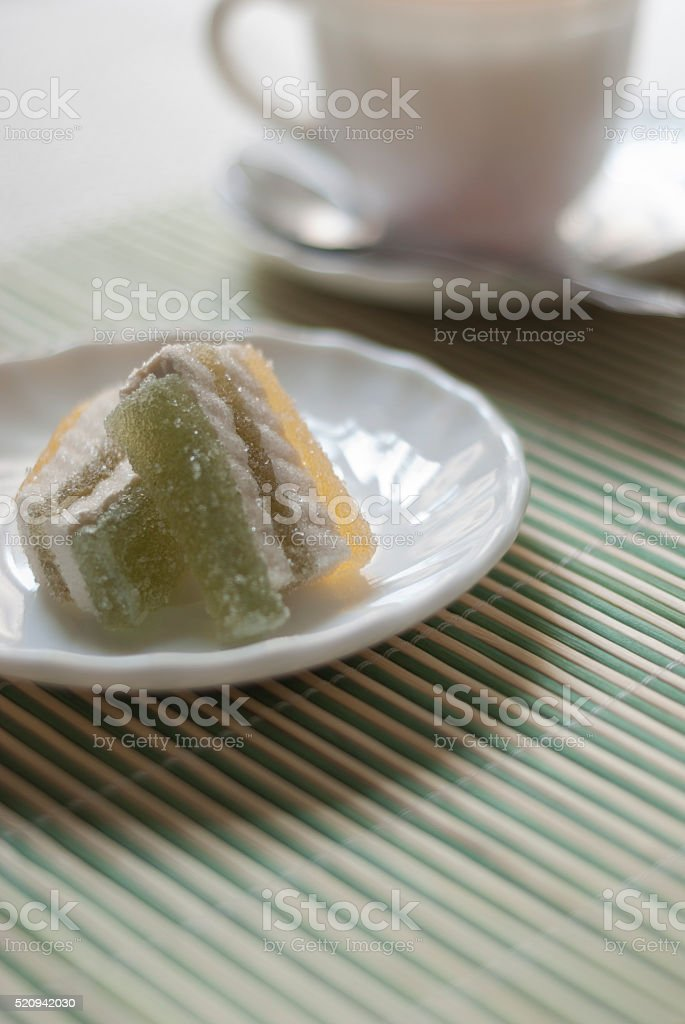 marmalade on a white plate. stock photo