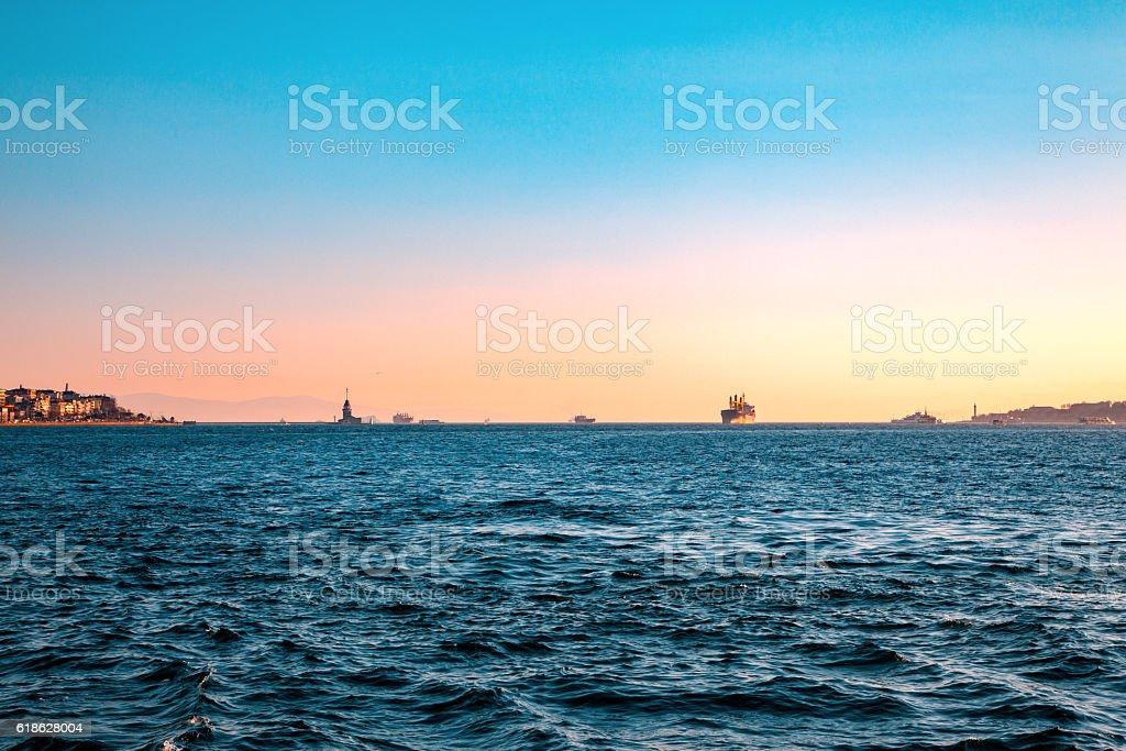 Marmara sea near Istanbul city. stock photo