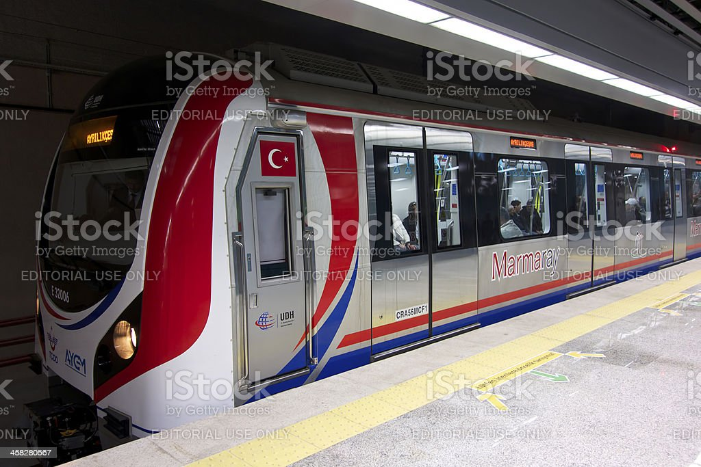 Marmaray Train is at the station royalty-free stock photo
