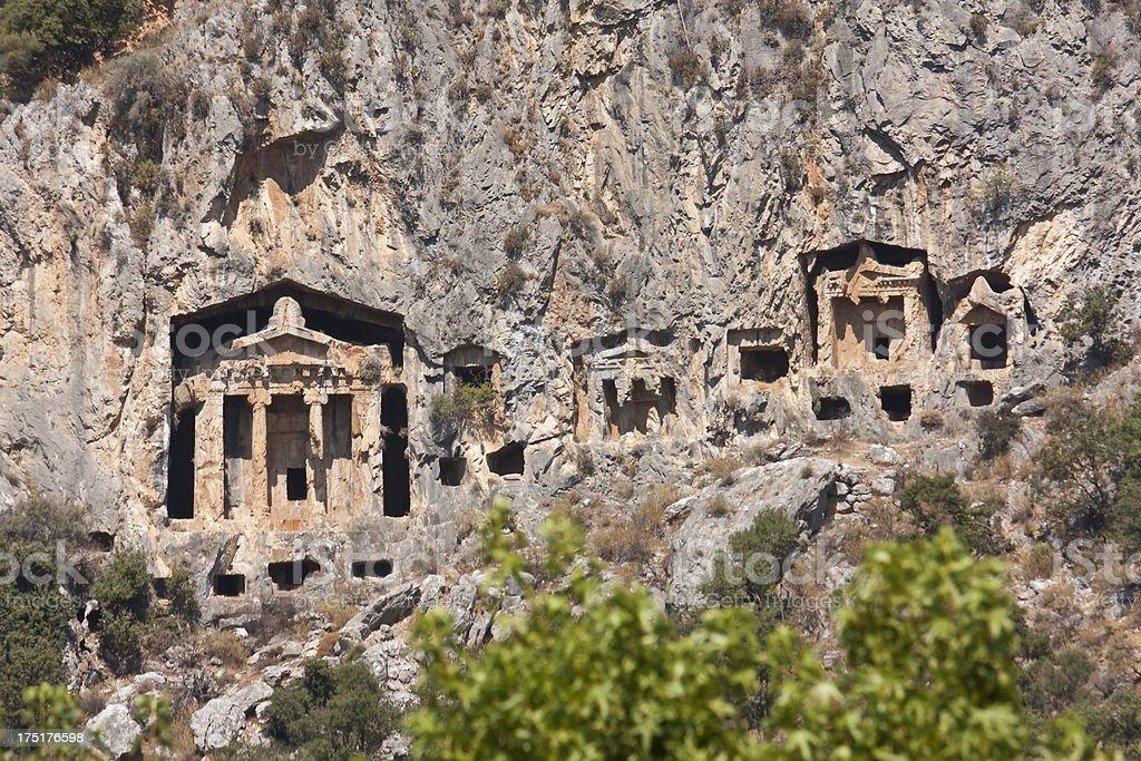 marmaris carian tombs, tourism travel destination stock photo