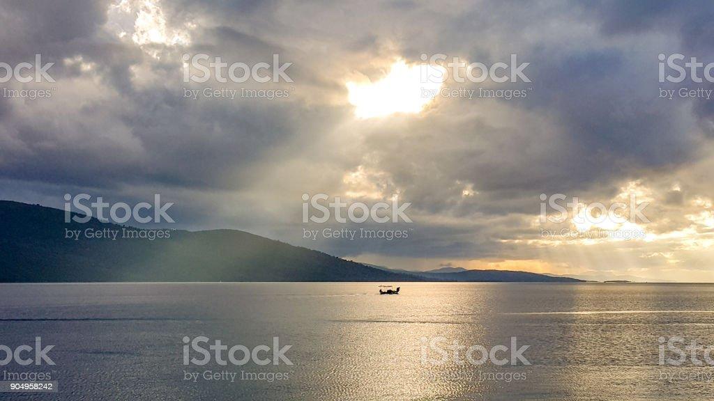 Marmaris, Mugla - Turkey. November 19, 2017. Sundown in Akyaka Gokova Bay, Mugla - Turkey. stock photo