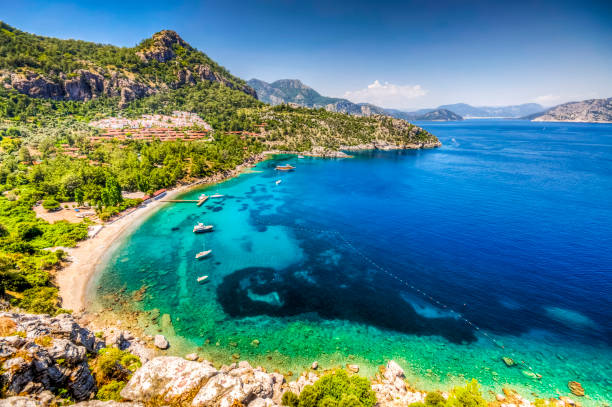 Marmaris Province in Turkey Turunc Bay in Marmaris. Turunc is popular tourist destination in Turkey. turkish stock pictures, royalty-free photos & images