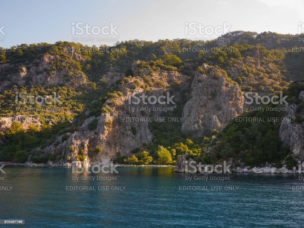 Marmaris, Türkiye: 30 Ekim 2017, okyanus vand kayalık Adası Marmaris toplayan stok fotoğrafı