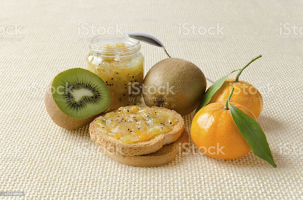 Marmellata di Kiwi e Mandarini stock photo