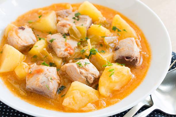 Marmitako Tuna and potato stew called Marmitako in traditional Basque cuisine tuna seafood stock pictures, royalty-free photos & images