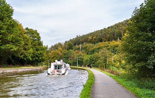Marne - Rhine Canal in Vosges mountains, Alsase, France Marne - Rhine Canal in Vosges mountains, Alsase, France marne stock pictures, royalty-free photos & images