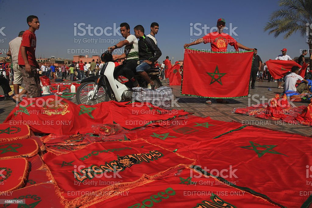 Marocan flags stock photo