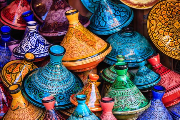 Maroccan tajine pots at a souk in Marrakech stock photo