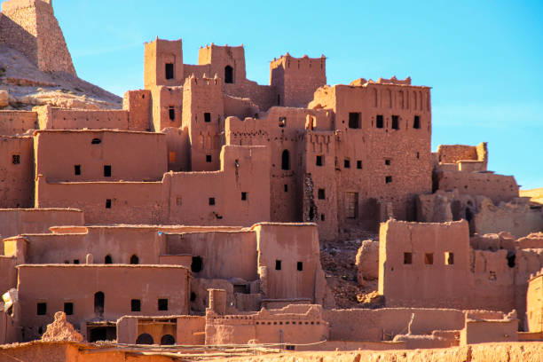 maroccan village  near atlas mountains - algeria stock photos and pictures