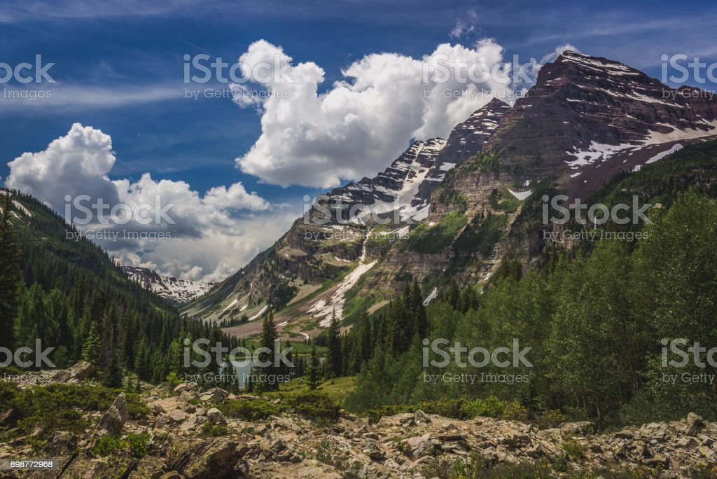 Maroon Bells and Crater Lake stock photo