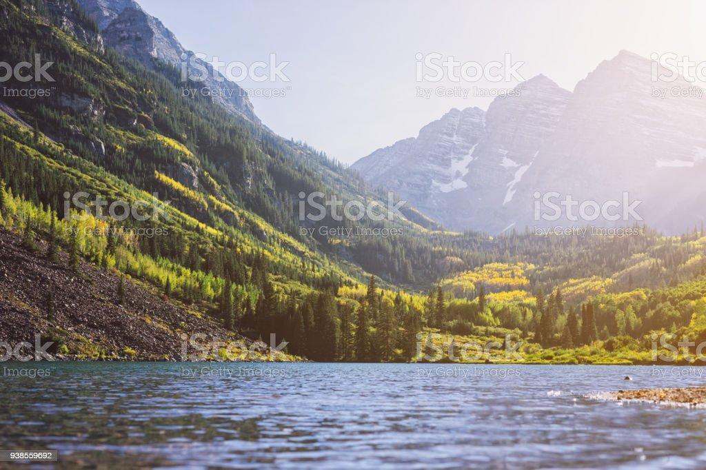 Maroon Bells and Lake at Sunset, Colorado, USA stock photo