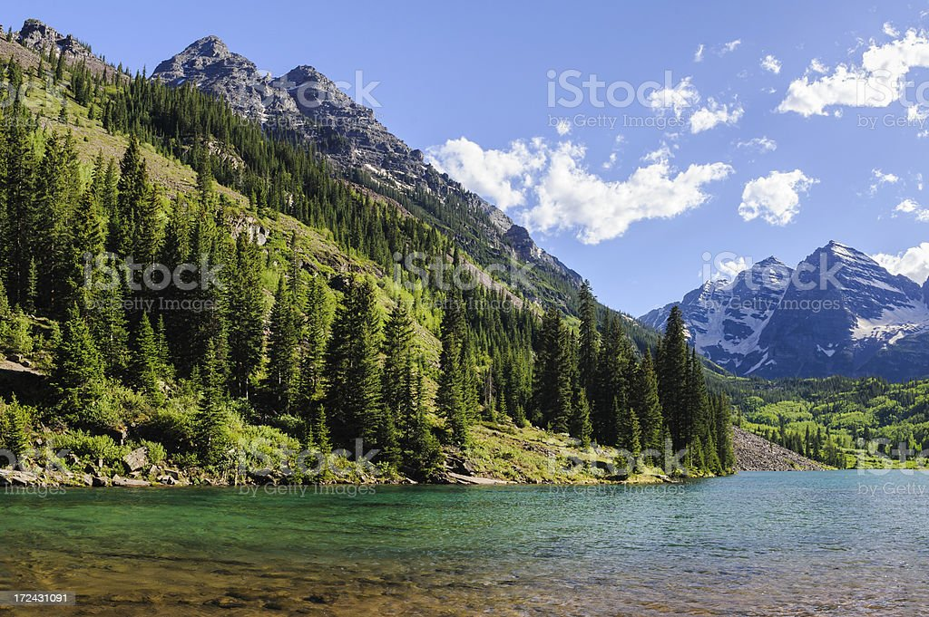 Maroon Bells and Pyramid Peak with Lake stock photo