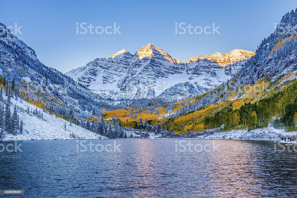 Maroon bells at sunrise, Apen, CO stock photo