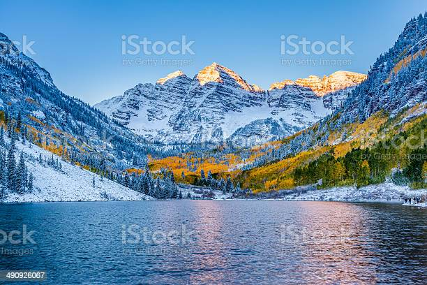 Photo of Maroon bells at sunrise, Apen, CO