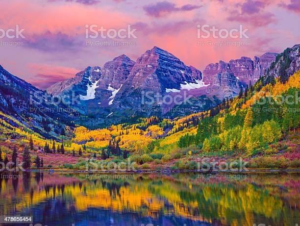 Photo of Maroon Bells autumn aspen trees,lake reflections,Aspen Colorado