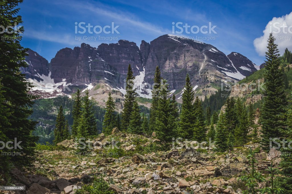 Maroon Bells From Crater Lake Trail Stock Photo - Download