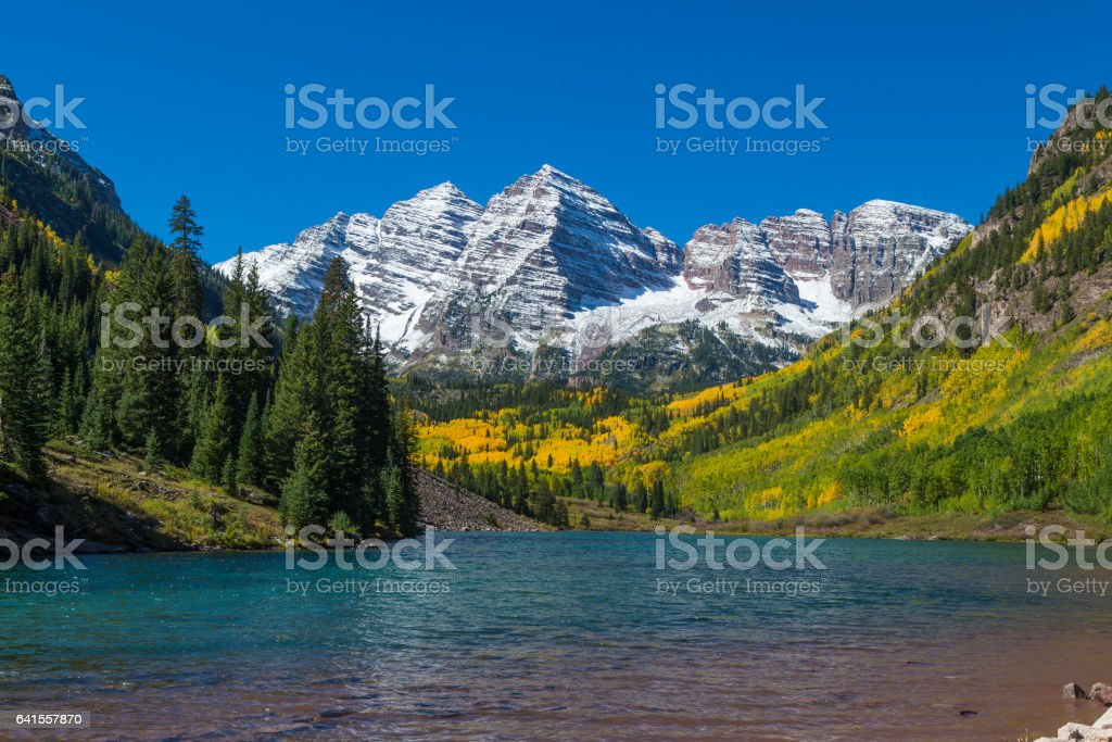 Maroon Bells in Fall stock photo