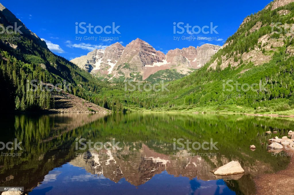 Maroon Bells Lake Reflections in Summer stock photo