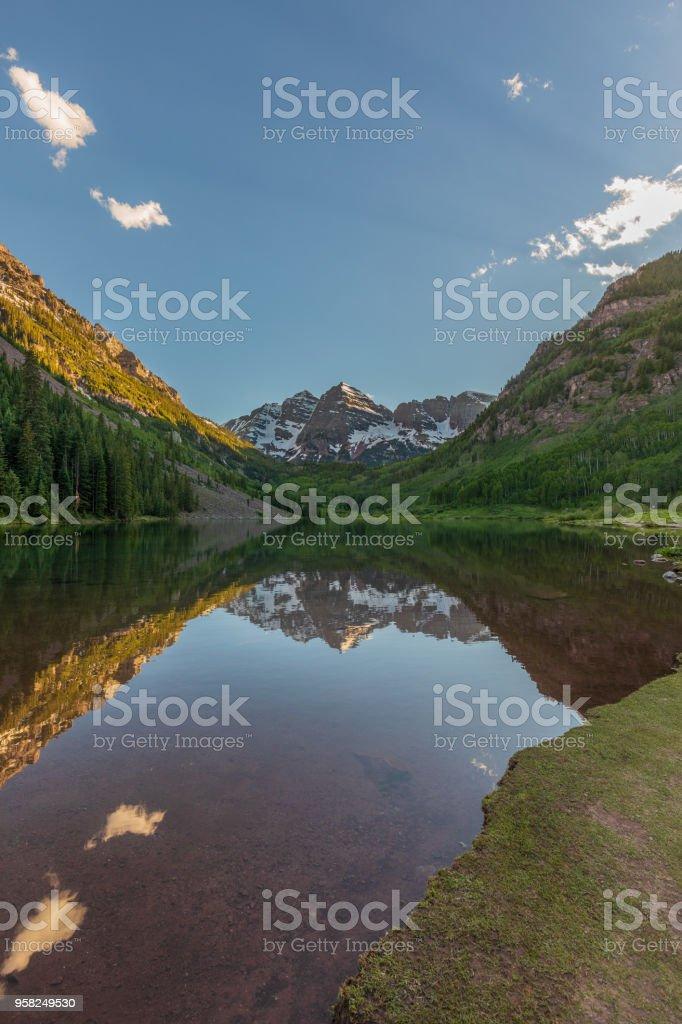 Maroon Bells Summer Reflection Stock Photo Download Image