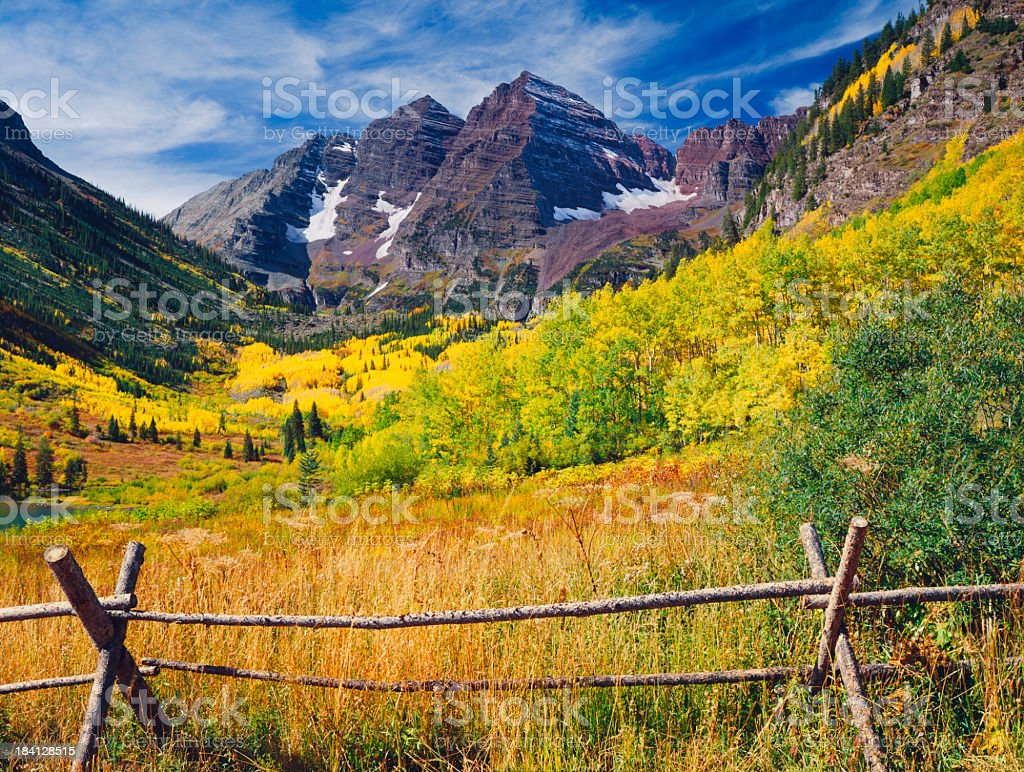 Maroon Bells With Autumn Aspen Trees stock photo