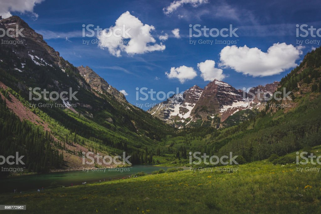 Maroon Lake and Maroon Bells stock photo