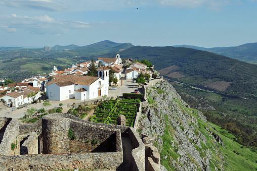 13 th century castle ,village and topiary gardens of Marvão located on a steep hill and overlooking the beautiful landscape,Alentejo,Portugal.View from the castle.