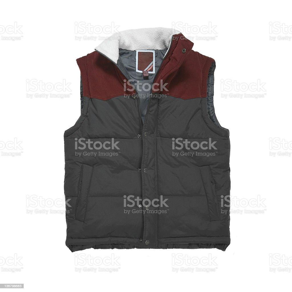 Maroon Ski Vest on a White Background stock photo