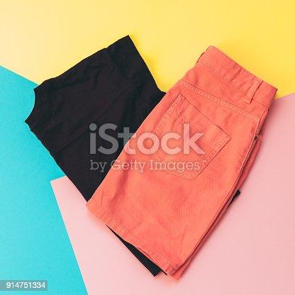 640200626istockphoto maroon t-shirt and denim skirt 914751334