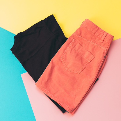 640200626 istock photo maroon t-shirt and denim skirt 914751334