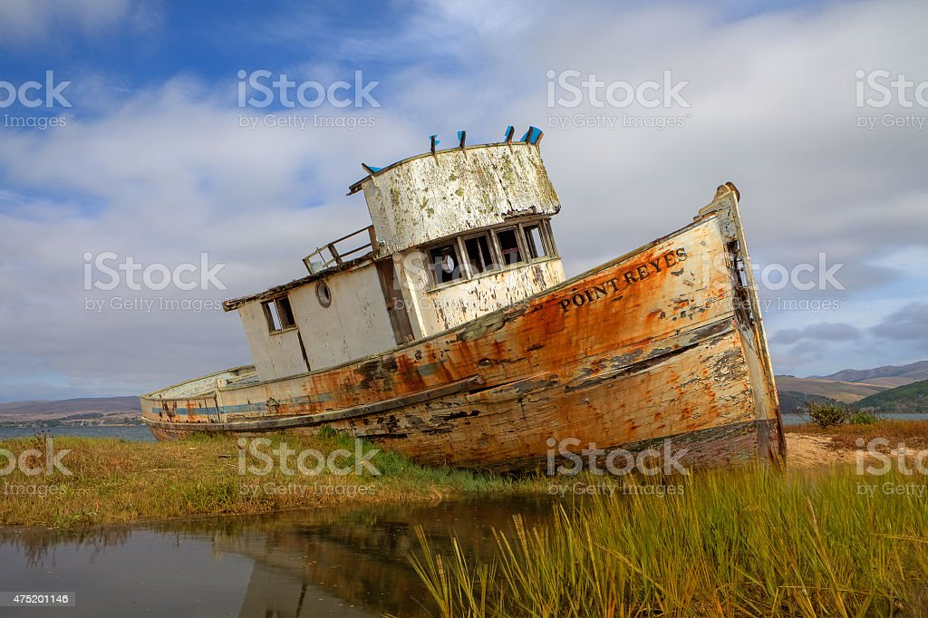 Marooned Boat at Point Reyes stock photo