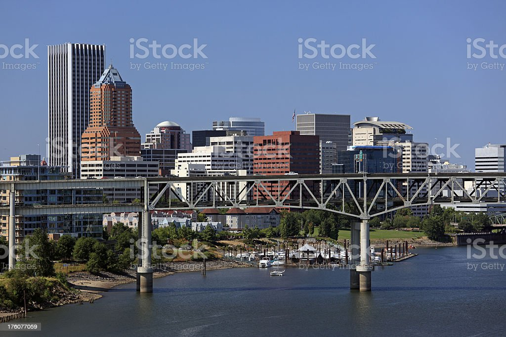 Marquam Bridge over the Willamette river Portland, Oregon. royalty-free stock photo