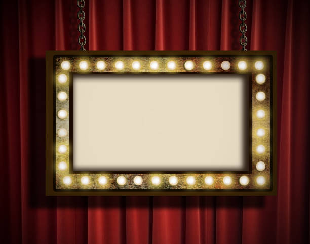 Marquee and curtain A grungy sign with marquee lights hanging by chains against a red velvet curtain theater marquee commercial sign stock pictures, royalty-free photos & images