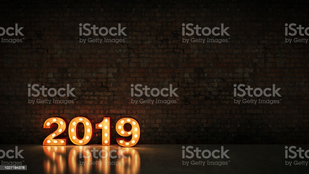 marquee light 2019 letter sign, New Year 2019. 3d rendering