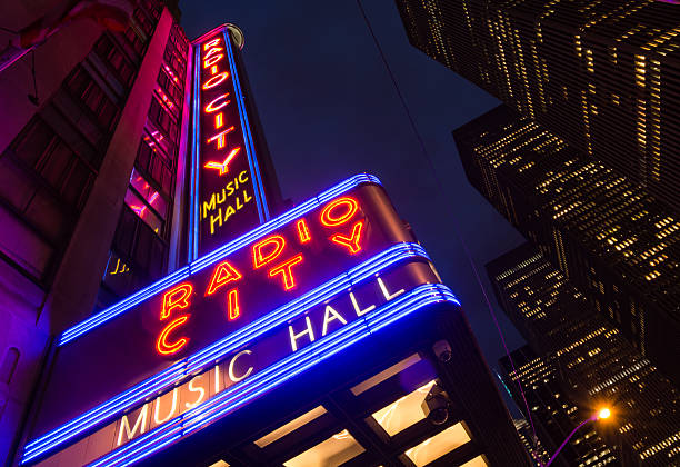 Marquee of Radio City Music Hall in New York City stock photo