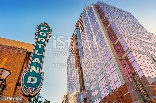 The landmark Portland marquee on the Arlene Schnitzer Concert Hall aka Paramount theatre in downtown Portland Oregon USA.