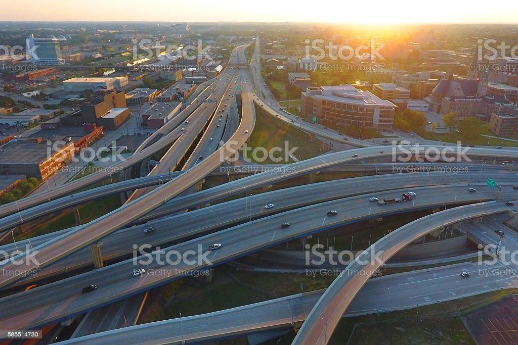 Marquette Interchange in Milwaukee facing west stock photo