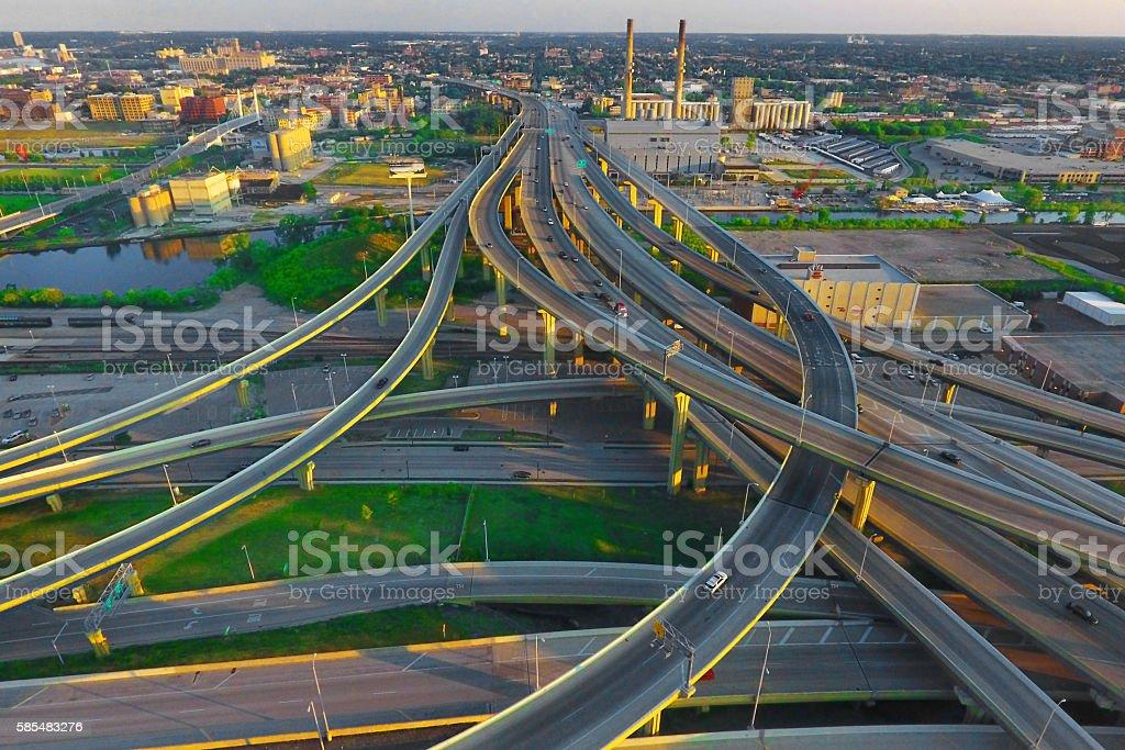 Marquette Interchange Milwaukee stock photo