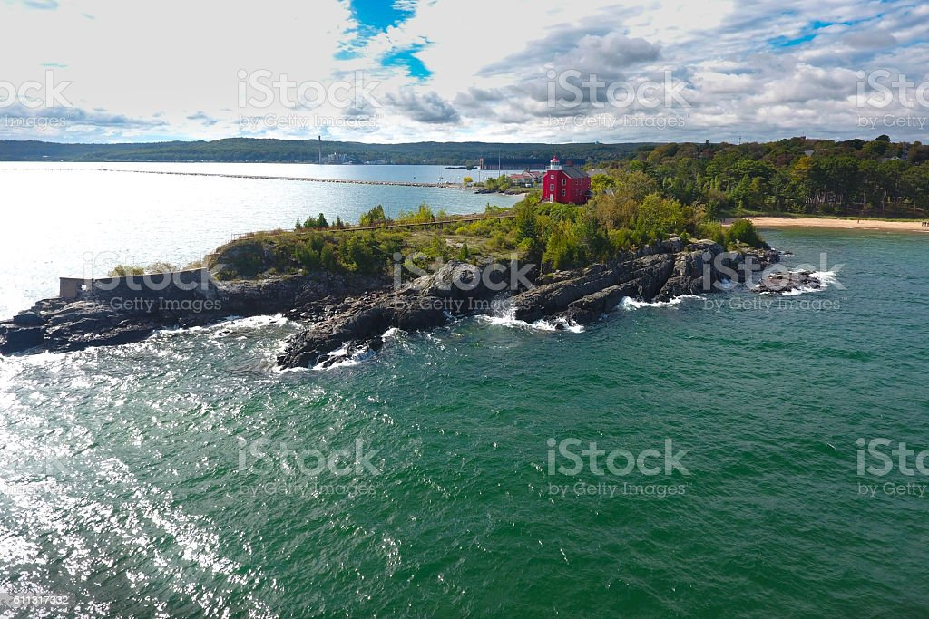 Marquette Light House keeping people safe on Lake Superior stock photo