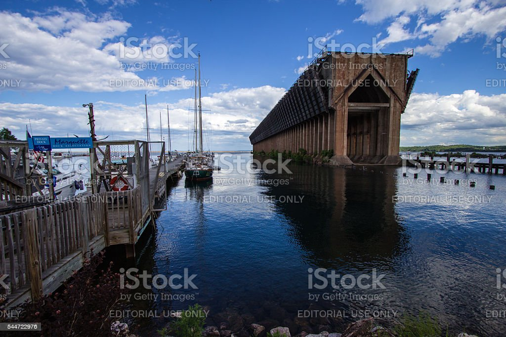 Marquette Michigan Iron Ore Dock And Marina stock photo