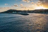 Mġarr Harbour at sunset, Gozo Island, Malta