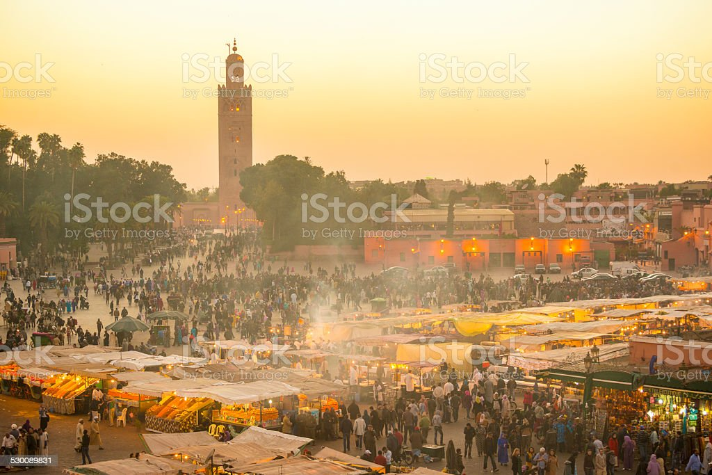 Marrakech Djemaa el Fna at dusk stock photo