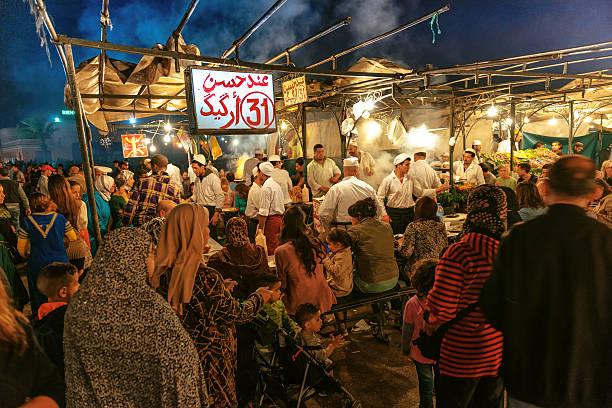 Marrakech, Djemma El Fan Square, Night Street Market, Morocco stock photo