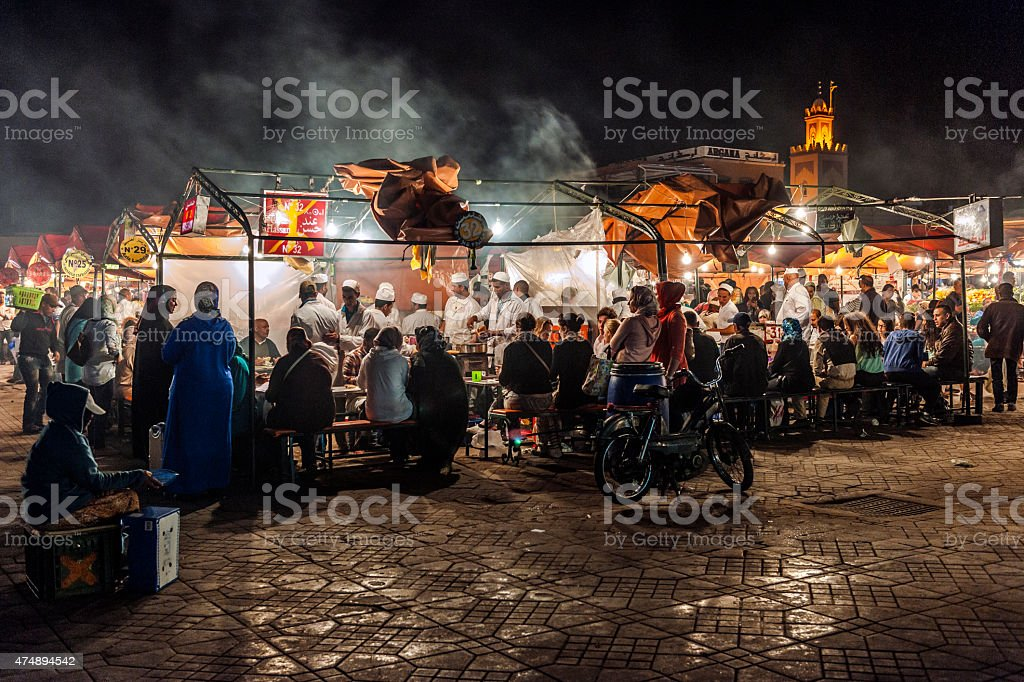 Marrakech, Djemma el fan square the famous place Morocco Africa stock photo