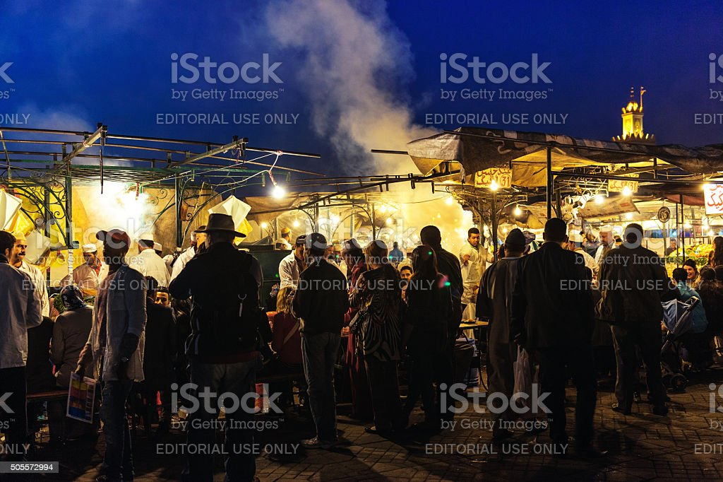 Marrakech, Djemma el fna square the famous place Morocco Africa stock photo