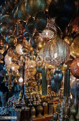 994119256istockphoto Marrakech market Morocco shiny lamps 1192661628