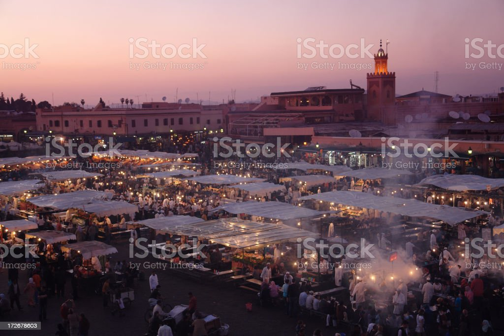 Marrakesh by Evening, Djemaa el-Fna Square royalty-free stock photo