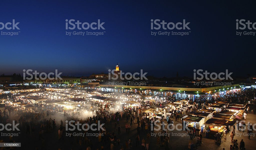 Marrakesh by Night, Famous Djemaa el-Fna Square royalty-free stock photo